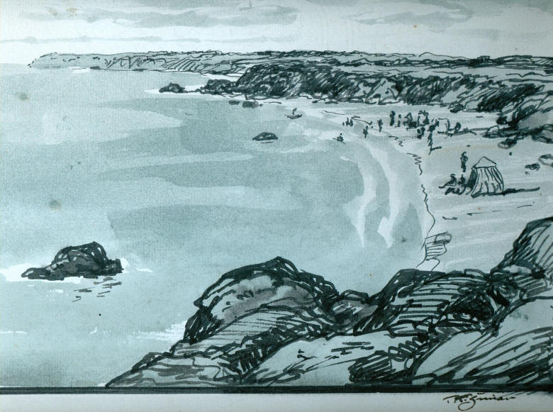 Beach Of Normadie Drawing In Ink 31 X 21cm Click On The Photo To Enlarge