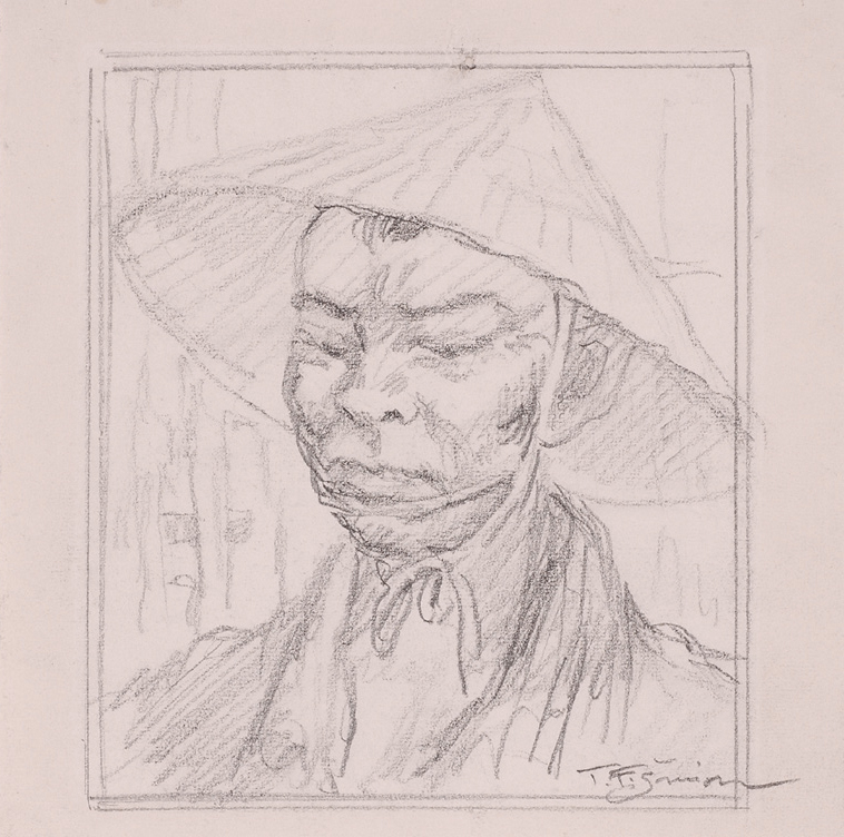 Japanese mans face related to the drawing on the cover of voyage around the world 1930 in pencil 180x180mm signed t f simon